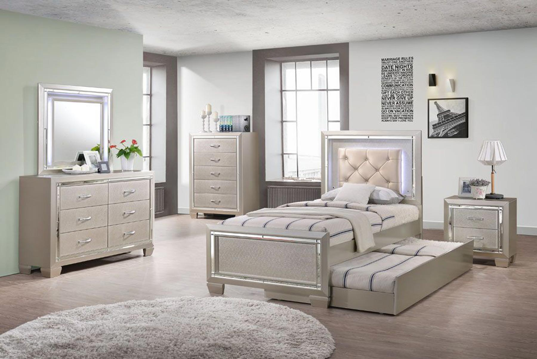 Platinum Youth 6 Piece Twin Or Full Bedroom Set Gonzalez