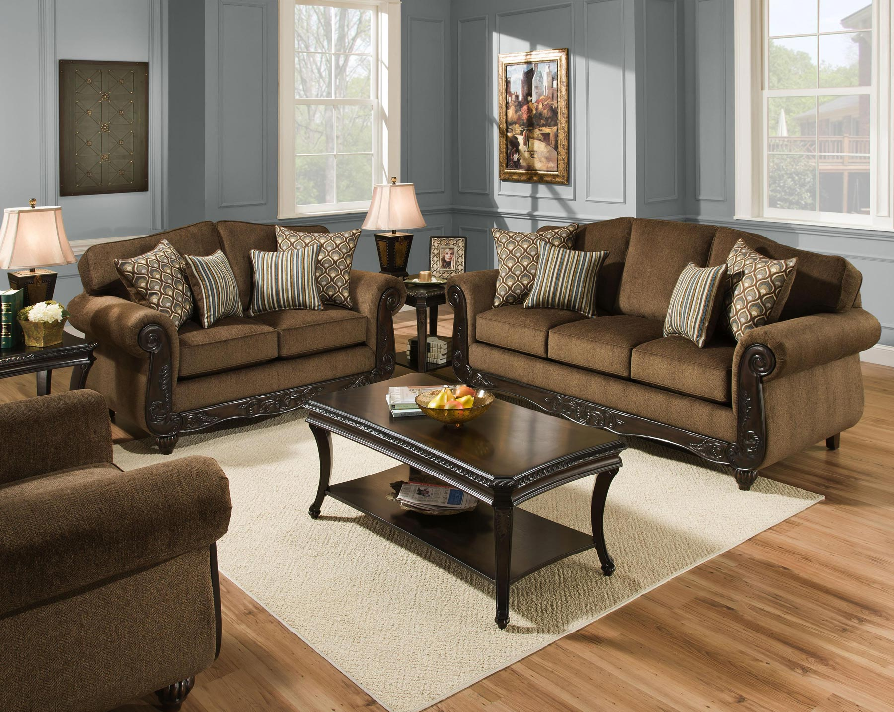 Bedford bark 3 piece living room set gonzalez furniture for 3 piece living room furniture