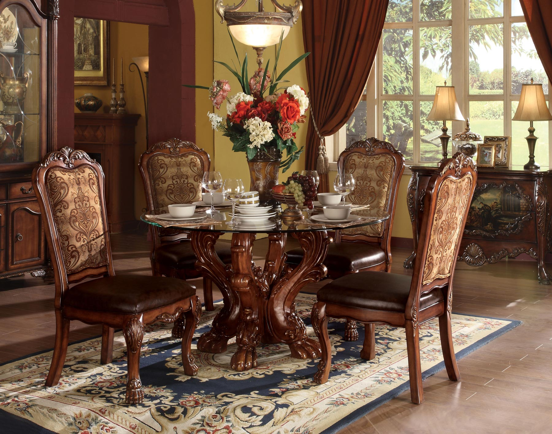 dresden round 5 piece dining room set gonzalez furniture. Black Bedroom Furniture Sets. Home Design Ideas