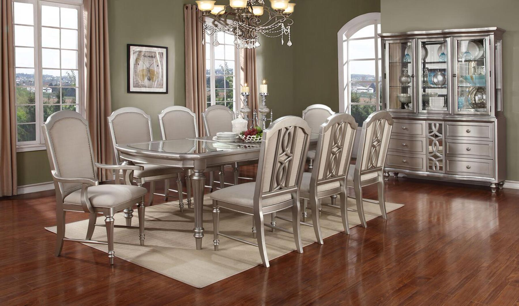 apartment dining room sets   Regency Park 7 Piece Dining Room Set   Gonzalez Furniture