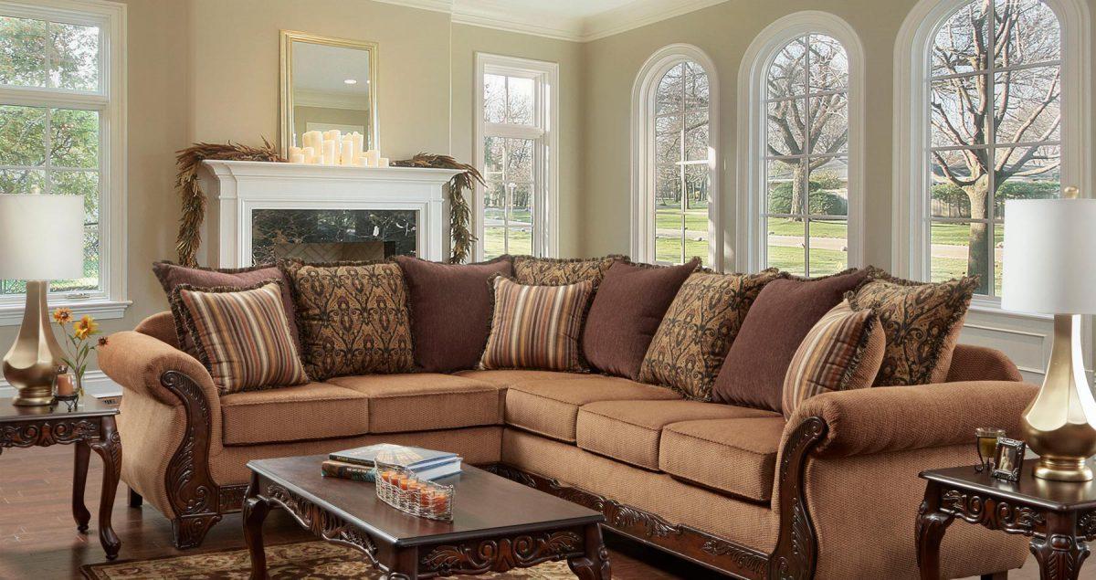 Florence Gold Sectional Living Room Set | Gonzalez Furniture