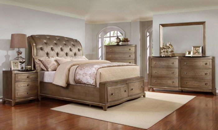 Antique Gold 4 Piece Bedroom Set. By Avalon Furniture