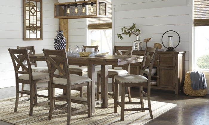 Moriville Pub Dining Room Set D631-32-124(6)-60-R400871